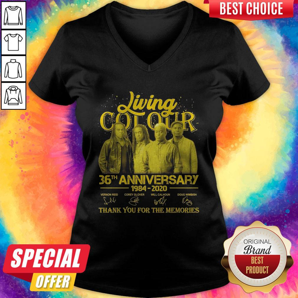 Pretty Living Cot Our 36th Anniversary 1984 2020 Thank You For The Memories Signatures V-neck