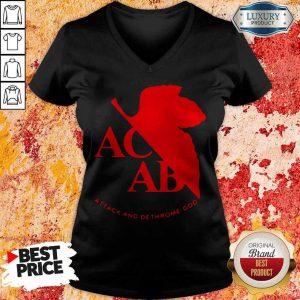Top ACAB Attack And Dethrone God V-neck