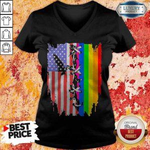 Top American Flag And Junteeth Flag V-neck