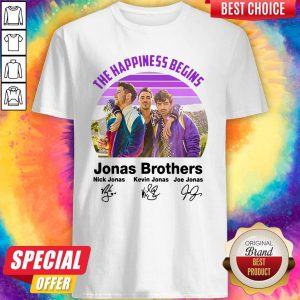 Top Vintage The Happiness Begins Jonas Brothers Signatures Shirt