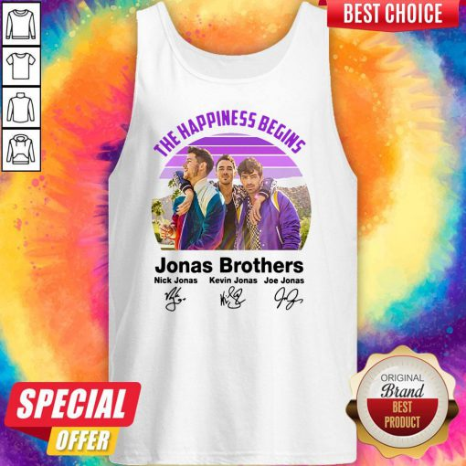 Top Vintage The Happiness Begins Jonas Brothers Signatures Tank Top