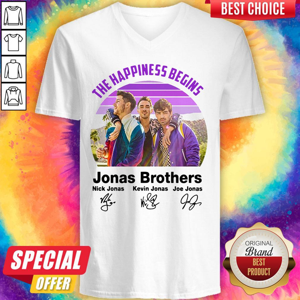 Top Vintage The Happiness Begins Jonas Brothers Signatures V-neck