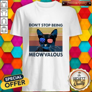 Funny Cat Don't Stop Being Meowvalous American Flag Vintage Shirt