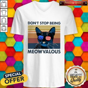 Funny Cat Don't Stop Being Meowvalous American Flag Vintage V-neck