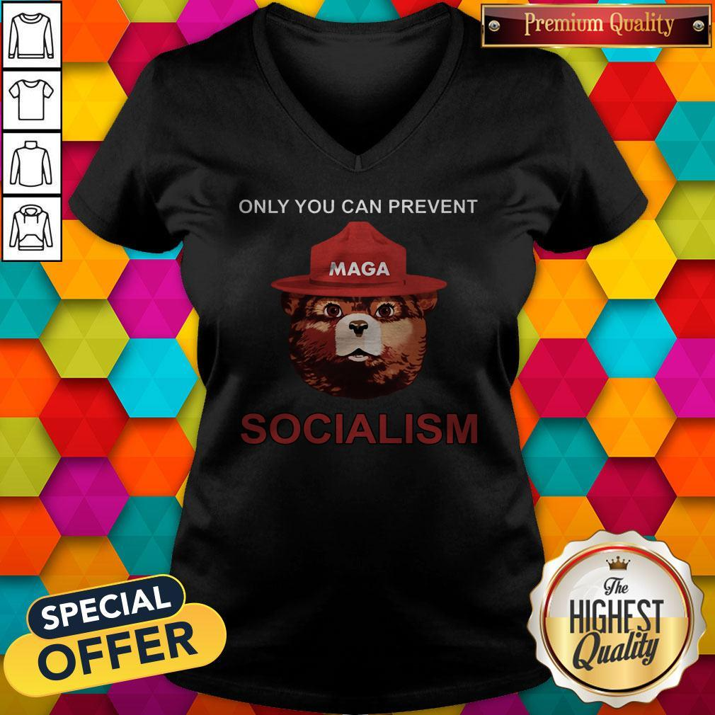 Nice Maga Bear Only You Can Prevent Socialism V-neck