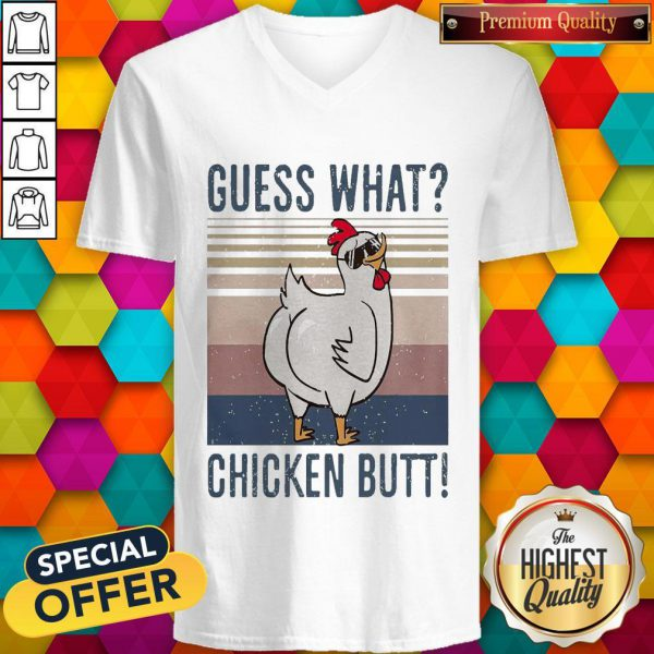 Official Guess What Chicken Butt Vintage V-neck