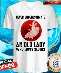 Official Never Underestimate An Old Lady Who Loves Sloths Blood Moon V-neck