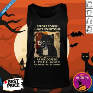 Cute Black Cat Before Coffee Hate Everyone Tank Top