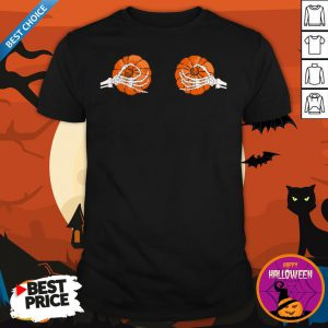 Halloween Pumpkin Bikini Skeleton Pumpkin Boobs Dia De Muertos Day Of The Dead Shirt