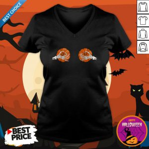 Halloween Pumpkin Bikini Skeleton Pumpkin Boobs Dia De Muertos Day Of The Dead V-neck