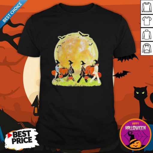 Halloween The Beatles Abbey Road Pumpkin Moon Shirt