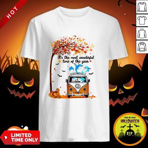 Hippie Car Dolphins Its Time Of The Year Halloween Autumn Shirt