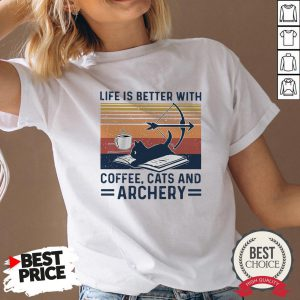 Life Is Better With Coffee Cats And Archery Vintage V-neck