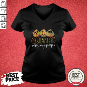 Official Quilting With My Peeps V-neck