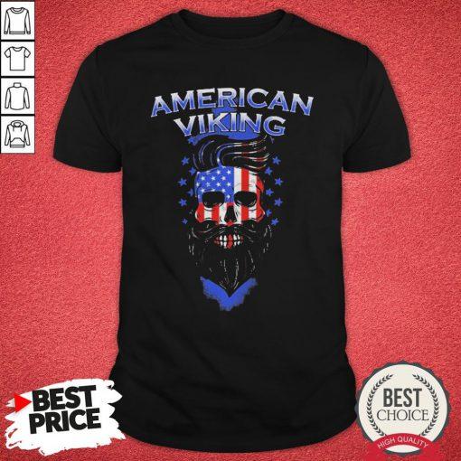 Official Skull American Flag Viking Shirt