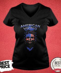 Official Skull American Flag Viking V-neck