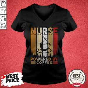 Top Nurse Powered By Coffee Vintage V-neck