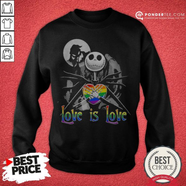 LGBT Jack Skellington The Nightmare Before Christmas Love Is Love Halloween Sweatshirt