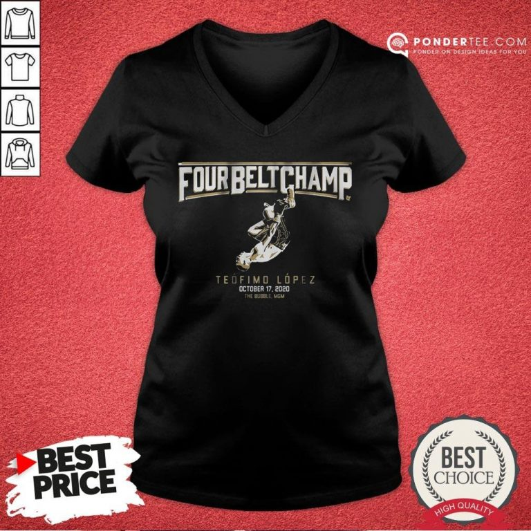 Awesome Teofimo Lopez The Four-belt Champ V-neck - Desisn By Pondertee.com