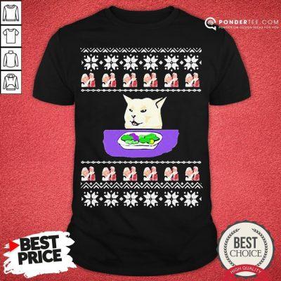 Awesome Woman Yelling Cat Meme Ugly Christmas Shirt - Desisn By Pondertee.com