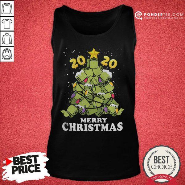 Hot Merry Christmas 2020 Quarantine Toilet Paper Xmas Tree Tank Top - Desisn By Pondertee.com