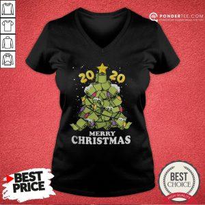 Hot Merry Christmas 2020 Quarantine Toilet Paper Xmas Tree V-neck - Desisn By Pondertee.com