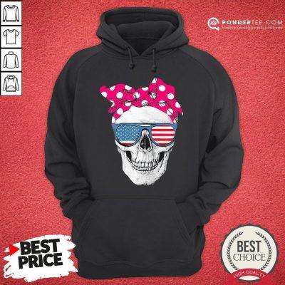 Hot Womens American Skull Women's Pride With Cute Pink Polka Style 2020 Hoodie - Desisn By Pondertee.com