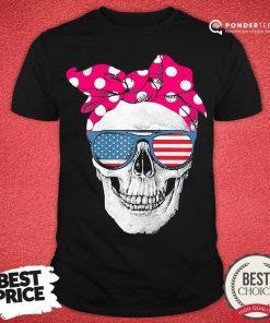 Hot Womens American Skull Women's Pride With Cute Pink Polka Style 2020 Shirt - Desisn By Pondertee.com