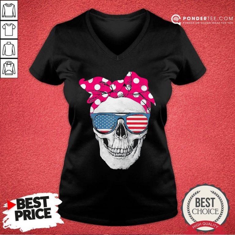 Hot Womens American Skull Women's Pride With Cute Pink Polka Style 2020 V-neck - Desisn By Pondertee.com