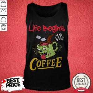 Life Begins After Coffee Zombie Monster Halloween Tank Top