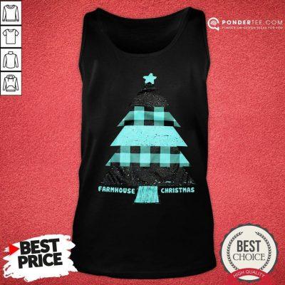 Mint Farmhouse Christmas Raglan Tank Top - Desisn By Pondertee.com