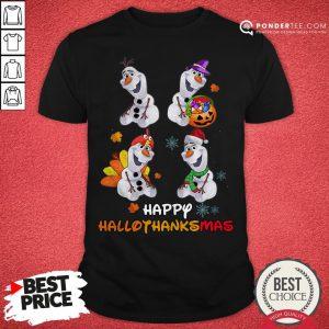 Olaf Halloween And Merry Christmas Happy Hallothanksmas Shirt - Desisn By Pondertee.com
