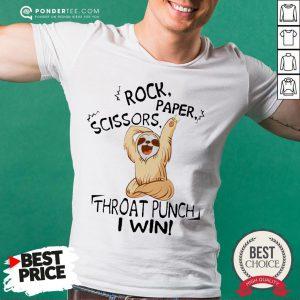 Sloth Rock Scissors Paper Throat Punch I Win Shirt - Desisn By Pondertee.com