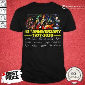 Star Wars 43rd Anniversary 1977 2020 Characters Signatures Shirt - Desisn By Pondertee.com