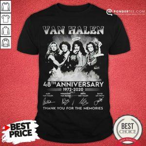 Van Halen 48th Anniversary 1972-2020 Thank You For The Memories Shirt - Desisn By Pondertee.com