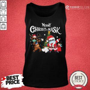 Good Merry Chrismask Santa Reindeer Face Mask Christmas Tank Top - Desisn By Pondertee.com