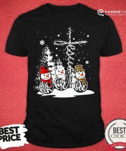 Good Snowman Jesus Faith Hope Love Christmas Shirt - Desisn By Pondertee.com