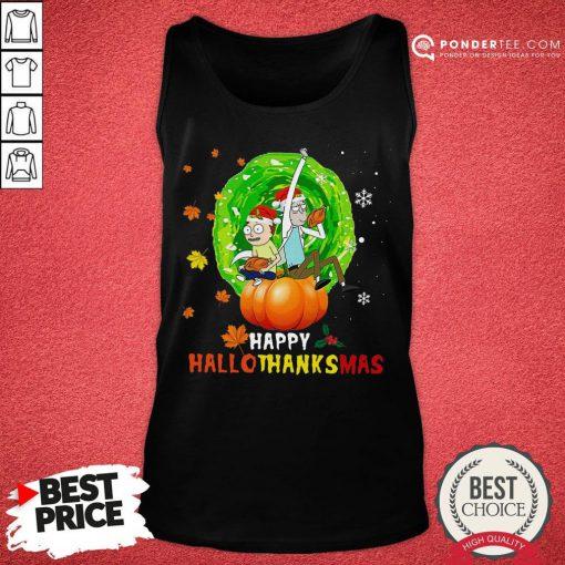 Happy Rick And Morty Happy Hallothanksmas Tank Top - Desisn By Pondertee.com