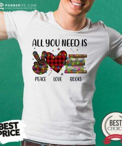 All You Need Is A Peace Love Book - Desisn By Pondertee.com s Merry Christmas Light Shirt