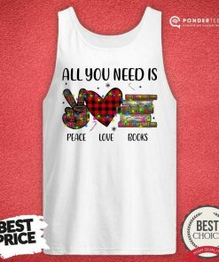 All You Need Is A Peace Love Books Merry Christmas Light Tank Top - Desisn By Pondertee.com