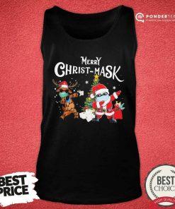Merry Christmask Santa Clause Reindeer Wear Mask Toilet Paper Tank Top - Desisn By Pondertee.com