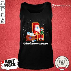 Santa With Face Mask And Toilet Paper Christmas 2020 Tank Top - Desisn By Pondertee.com
