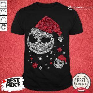 Nice Jack Skellington Santa Face Christmas Shirt - Desisn By Pondertee.com