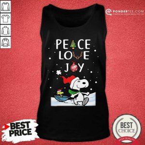 Peanuts Snoopy Peace Love Joy Christmas Tank Top - Desisn By Pondertee.com