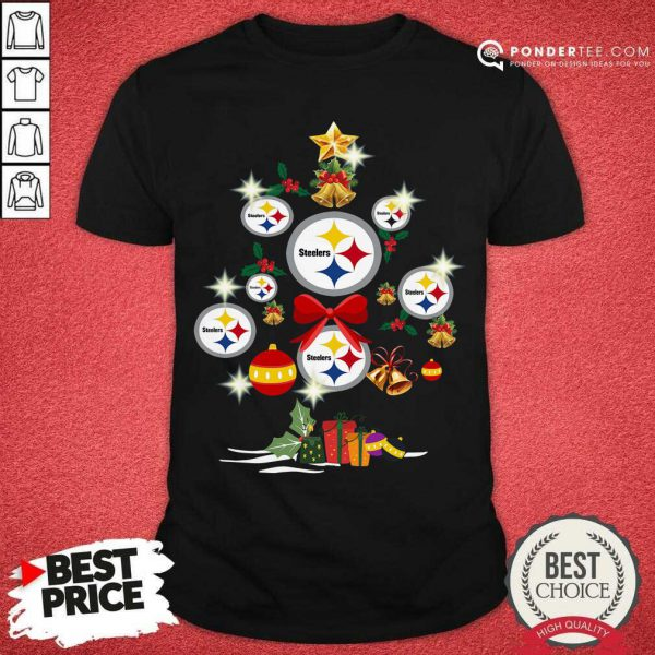 Pittsburgh Steelers Merry Christmas Tree Gift Shirt - Desisn By Pondertee.com