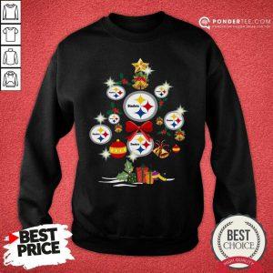 Pittsburgh Steelers Merry Christmas Tree Gift Sweatshirt - Desisn By Pondertee.com
