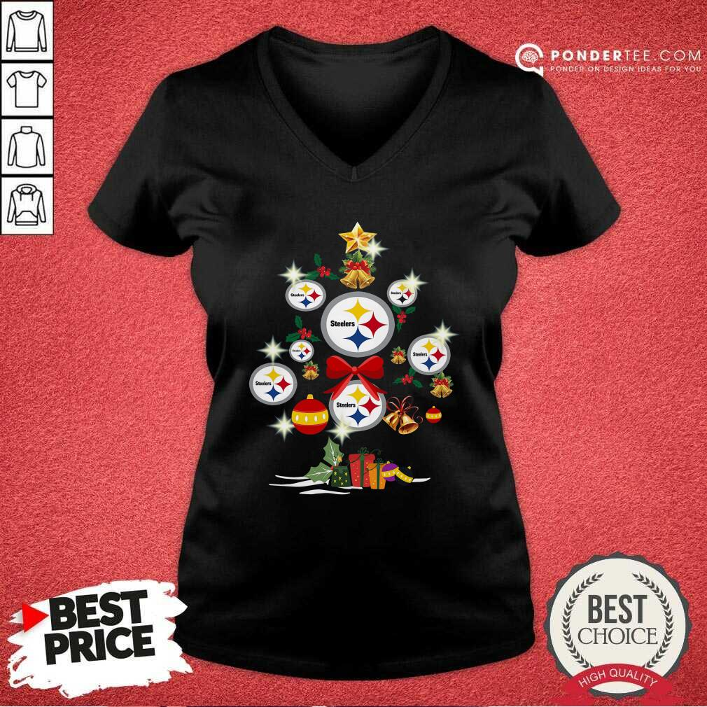 Pittsburgh Steelers Merry Christmas Tree Gift V-neck - Desisn By Pondertee.com