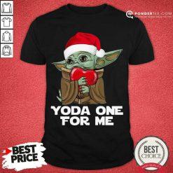 Santa Baby Yoda One For Me Hug Heart Christmas Shirt - Desisn By Pondertee.com