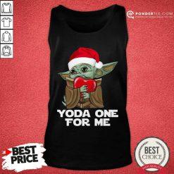 Santa Baby Yoda One For Me Hug Heart Christmas Tank Top - Desisn By Pondertee.com