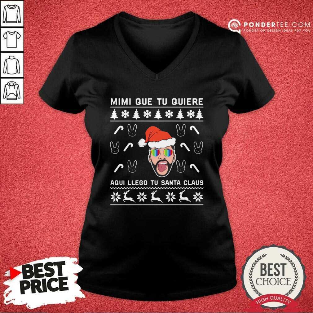 Bad Bunny Aqui Llego Tu Santa Claus Christmas V-neck - Desisn By Pondertee.com